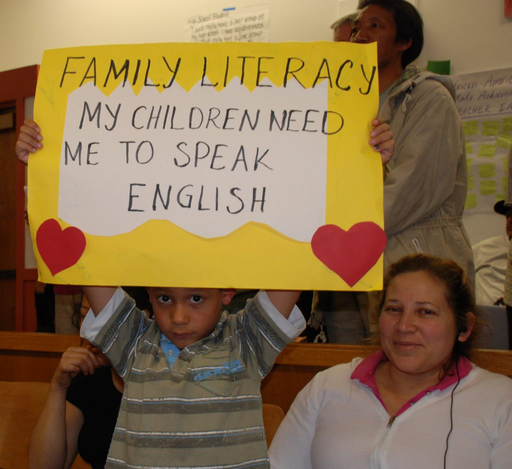 Students and parents protested proposed cuts to adult education in Oakland last week.