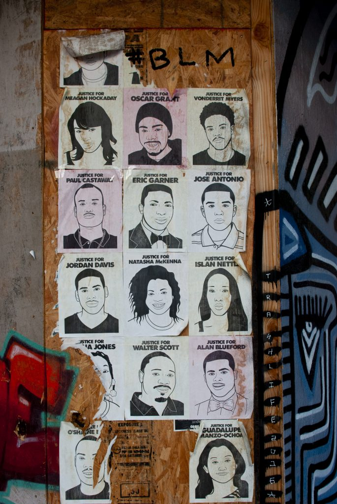 Black Lives Matter wheatpasting in downtown Oakland on April 4, 2016. Photo: Scott Morris