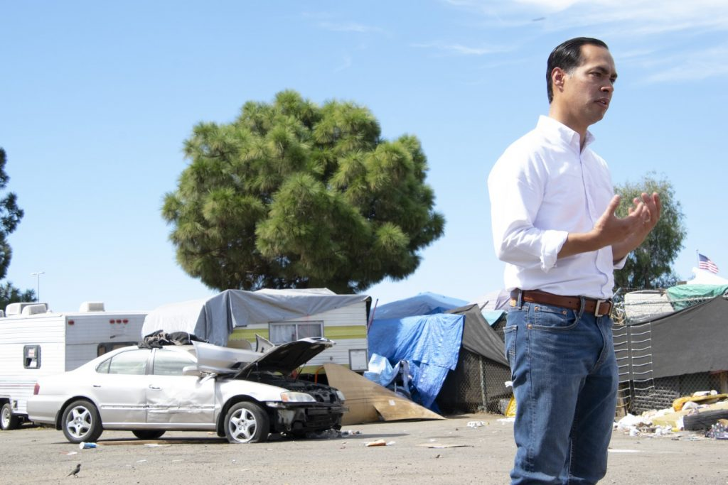 Democratic Presidential Candidate Julián Castro speaks at an Oakland homeless encampment on Sept. 25. Photo by Scott Morris