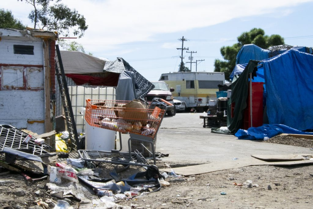 A homeless camp outside a Home Depot in East Oakland photographed on Sept,. 25. Photo by Scott Morris.
