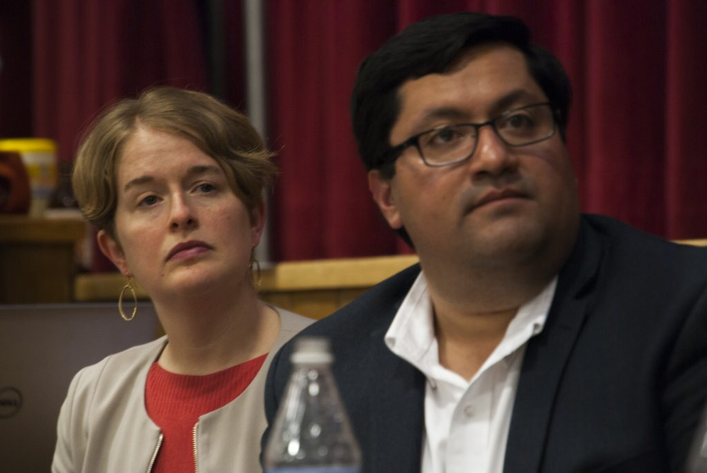 BART Director Rebecca Saltzman and Berkeley Mayor Jesse Arreguin at a meeting to discuss possible housing at the North Berkeley BART station. Photo by Scott Morris.