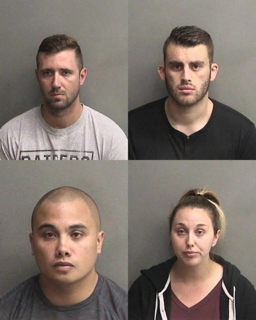 "Deputies charged in inmate ""gassings,"" clockwise from top left: Justin Linn, Erik McDermott, Sarah Krause, and Stephen Sarcos."