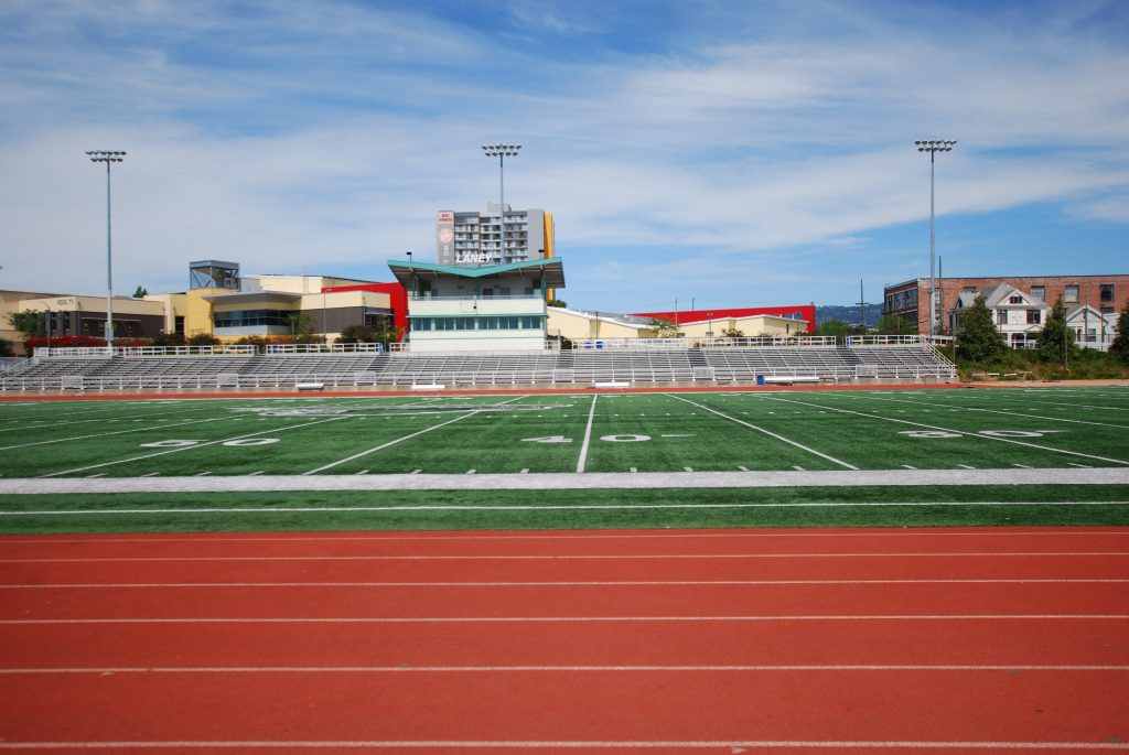 The athletic field at Laney College. Photo by Scott Morris.